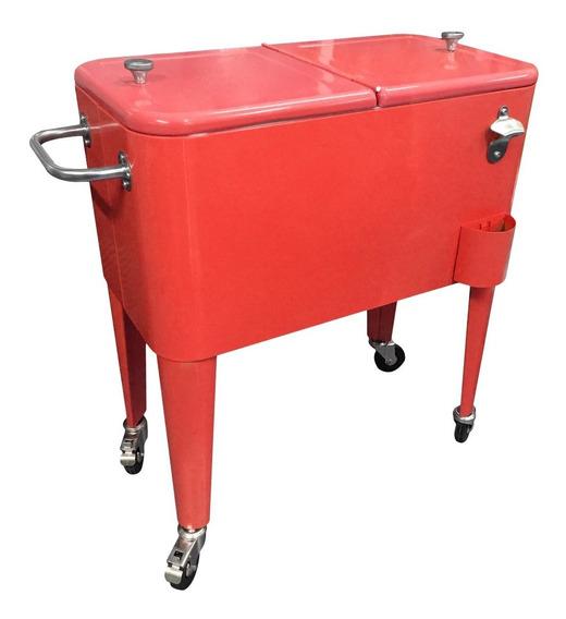 Cooler Retro Metálico Rojo Con Manilla Y Ruedas 60 Litros