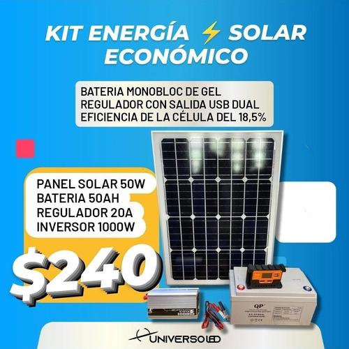 Imagen 1 de 10 de Solar Kit Completo Panel Regulador Bateria E Inversor