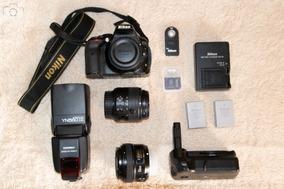 Kit Nikon D5300, Flash, Grip, Lente 18-55, Lente 50mm F1.8,