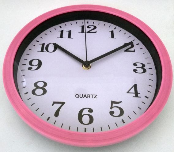 Relógio De Parede Analógico Redondo Rosa