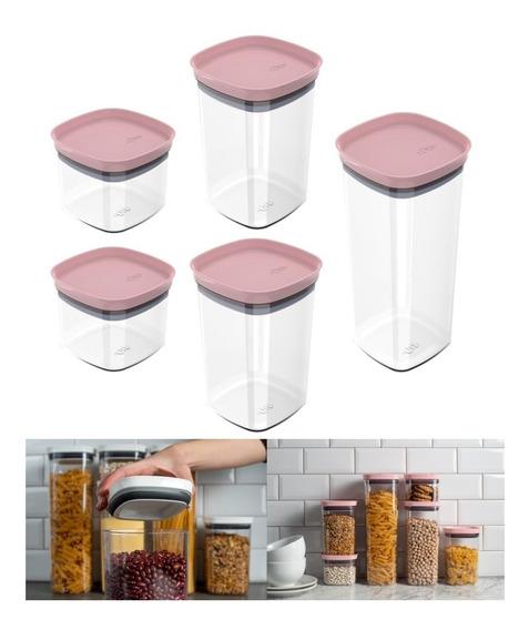 Kit 5 Potes Herméticos Porta Alimentos Mantimentos Com Tampa