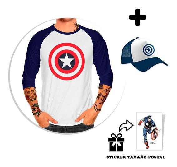 Envío Gratis Playera Raglan Capitán América + Gorra + Sticke