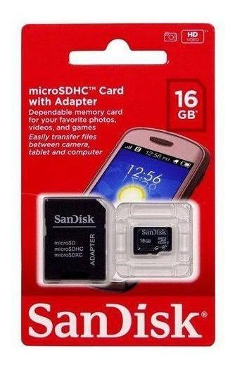 Cartão De Memória Sandisk 16 Gb + Adaptador Original