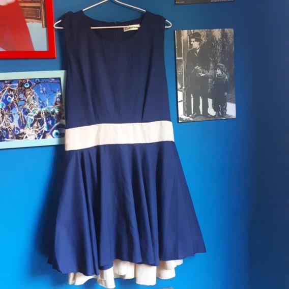 Vestido Eunice Lai Azul-marinho Com Bege