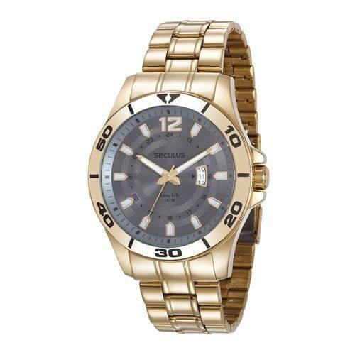 Relógio Seculus Masculino Dourado 28989gpsvda3