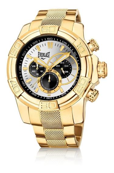 Relógio Pulso Everlast Masculino Cronografo Aço Dourado E646