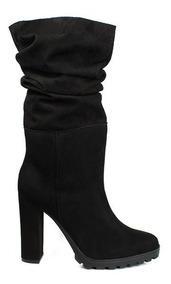Trender Bota Para Mujer Color Negro Con Pliegue