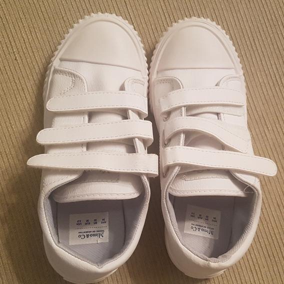 Zapatillas Blanca Velcro Mimo Talle 34