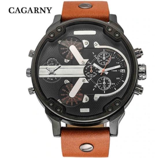 Relógio Masculino Esportivo Cagarny 6820 Dual Time Quartz