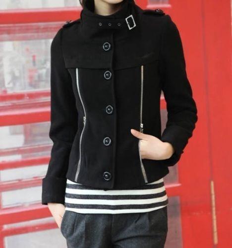 Abrigo Negro Corto Formal Moda Asiática