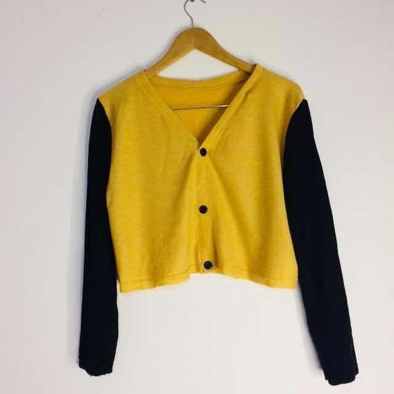 Cardigan / Sweater Bicolor Negro Y Mostaza De Mujer Waffle