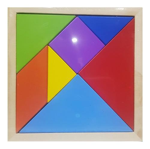 Imagen 1 de 3 de Tangram Madera Clásico Rompecabezas 7 Piezas Didáctico