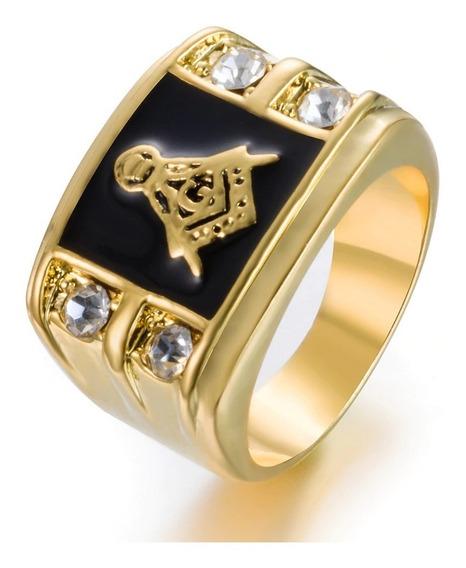 Lindo Anel Maçom Maçonaria Maçonico Dourado Preto Prata