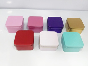 50 Caixa Metal Lata Quadrada 6,5x6,5 X 4 Lembrancinha