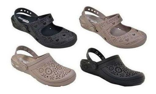 Babuche Crocs Sandália Sapato Feminino Boa Onda Com Palmilha Removível Conforto Para Joanete Macio Caminhada Ortopédico