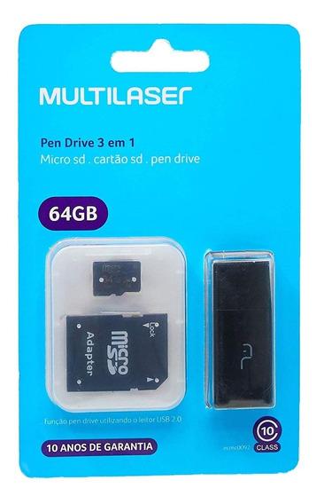 Cartão De Memória 64gb Micro Sd Classe 10 Mc115 Multilaser