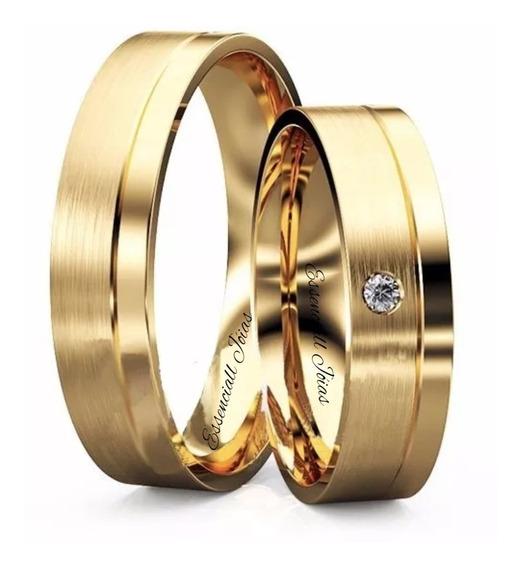 Par Alianças Ouro 18k 4 Mm 5 Grs Anatômica Diamante Natural