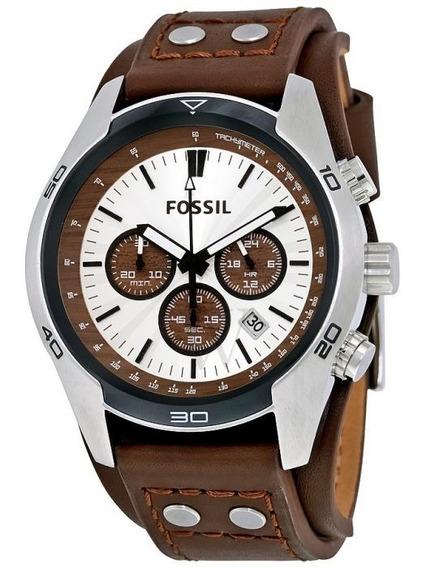 Relógio Fóssil Prata Dial Brown Leather Cuff-ch2565