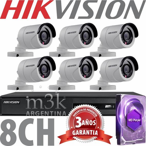 Kit Seguridad Hikvision Full Hd Dvr 8 + Disco 1tb Instalado + 6 Camaras Infrarrojas Exterior / Domos Interior + Ip M3k