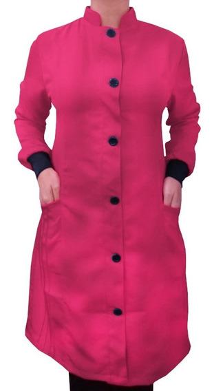 Jaleco Feminino Rosa Pink Gabardine Com Punho E Gola Padre Bu297