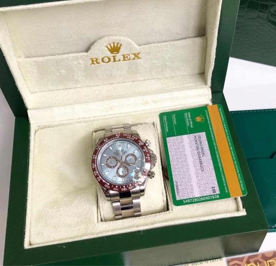 Rolex Azul Daytona Platinum Com Caixa E Documentos