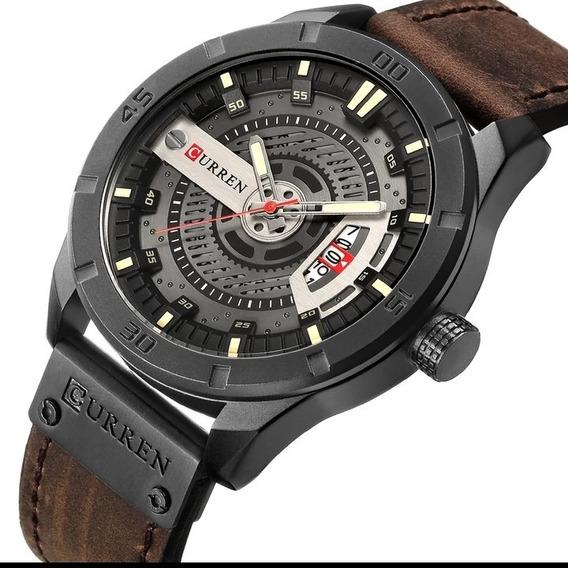 Relógio Masculino Curren Original Barato Couro Oferta C.109