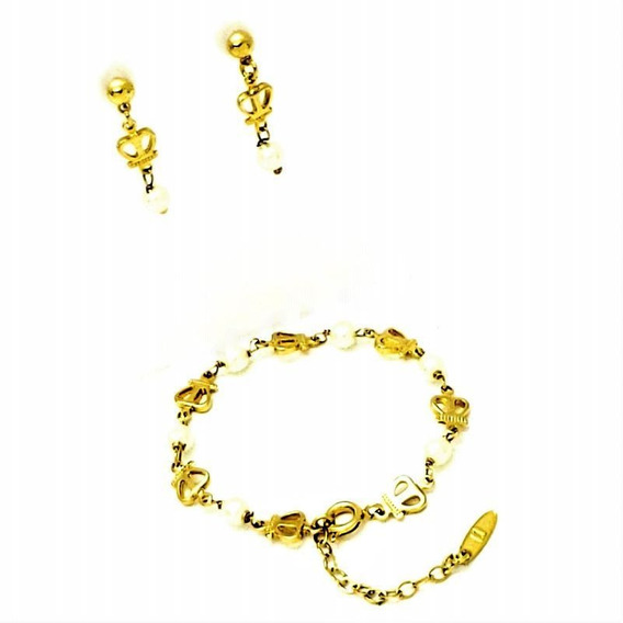 Pulseira Infantil Brincos Pérola Coroas Banho Ouro 1315 1405