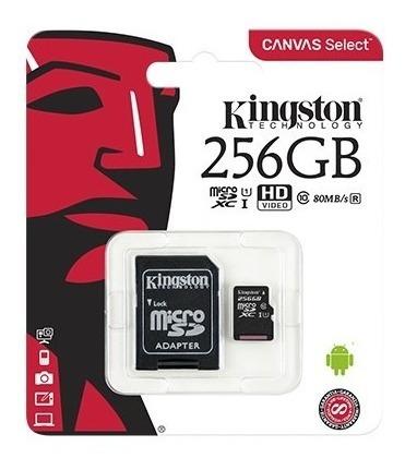 Imagen 1 de 7 de Memoria Micro Sd Kingston 256 Gb Canvas Clase 10 Original