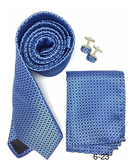 Set De Corbata, Pañuelo Y Mancuernillas Para Caballero Azul