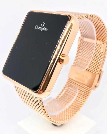 Relógio Quadrado Digital Rosê Champion Ch40080p - Com Nota