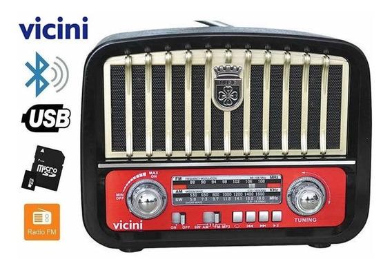 Radio Am Fm Retro Caixa Som Bateria Recarregavel