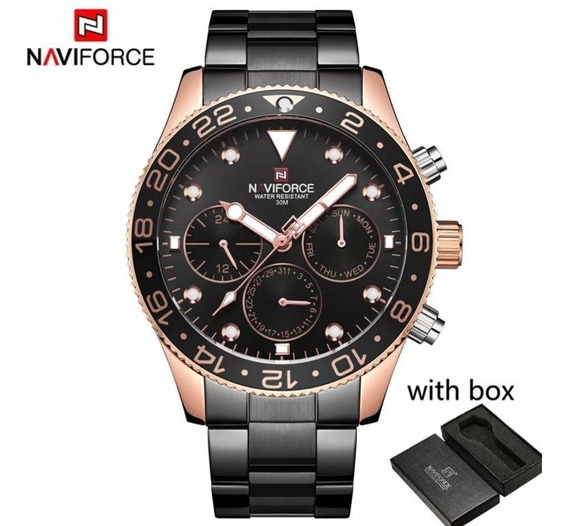 Relógio Naviforce Mod 9147 Preto E Cobre Funcional + Brinde