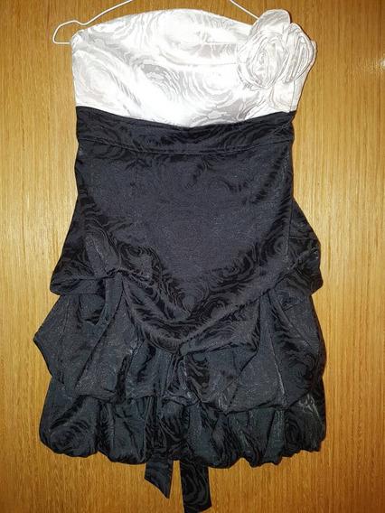 Vestido Importado Negro Y Blanco Talle Medio. Usado