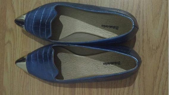 Zapatos Mujer Celeste Con Punta Dorada