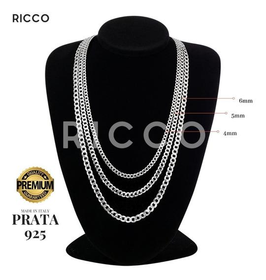Corrente Prata Pura 925 Italiana 6mm E 70 Cm + Pulseira Top