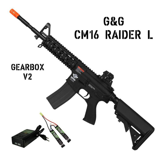 Airsoft Rifle Elétrico Bivolt G&g Cm16 Raider L Gearbox V2
