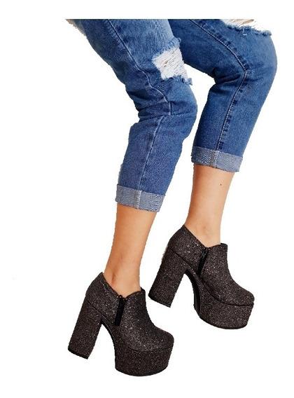 Botas Mujer Plataforma Alta Glitter Botinetas Zapatos Fiesta
