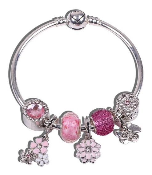 Pulseira Bracelete Rígido Com Berloques Inspirada Pandora