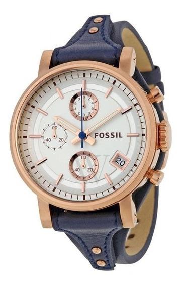 Relógio Fóssil Namorado Silver Dial Azul De Couro-es3838
