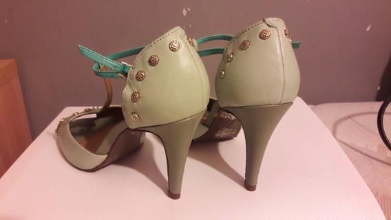 Sapato Dumond Peep Toe Salto Fino - Verde Água