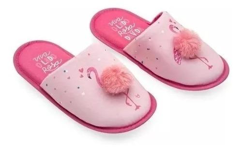 Pantufa Com Pompom Flamingos P E G Ludi