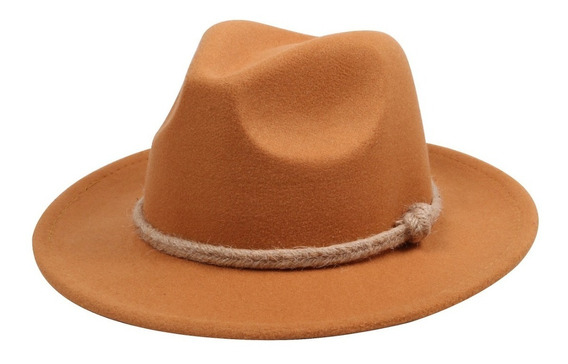 Chapéu Fedora Caramelo Cordão Buriti Masculino Feminino Top
