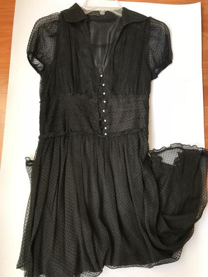 Vestido Negro Lunares Transparencia Talla 28 Zara Nuevo