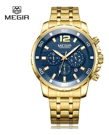 Relógio Megir Série Ouro Cronógrafo A Prova D Água