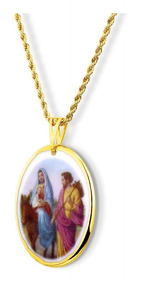 Medalha Nossa Senhora Desterro Ouro E Corrente Couro