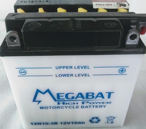 Imagen 1 de 1 de Batería Megabat Motos Cuatri 12n10 3b 12v 10ah
