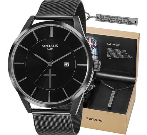 Relógio Masculino Seculus De Jesus Pai Nosso Original+cordão