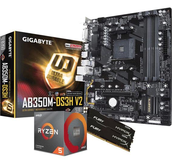 Kit Processador Ryzen 5 3600x Placa Ga Ab350m Ds3h V2 Memoria Fury 2x 4gb 2400mhz