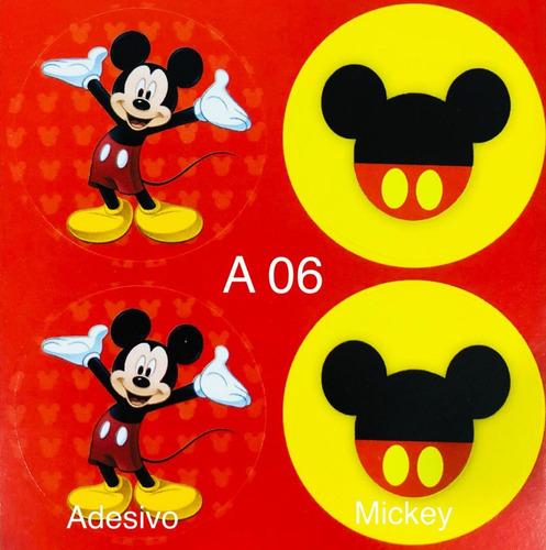 Imagem 1 de 9 de 100 Adesivos Para Festa Doces  Aniversario Mickey Lembrança