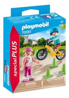 Playmobil Niños Con Patines Y Bicicleta 70061